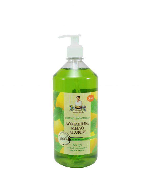 Babička Agafa Prírodné domáce mydlo s mätou a citrónovým olejom 3v1- 1000ml